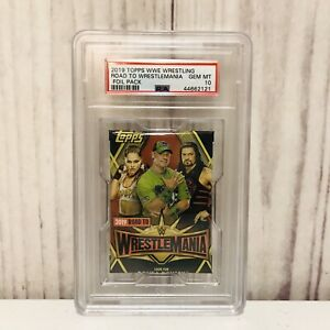2019 Topps WWE Road to Wrestlemania PSA 10 Rousey Cena Reigns Foil Pack
