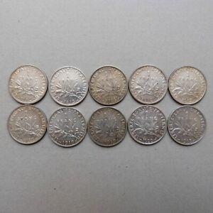 Lot 10 pièces de 1 Franc SEMEUSE ARGENT (2)