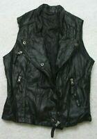 Unbranded Black Motorcycle Vest Jacket Coat Zip Front Small Women's Sleeveless