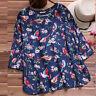 Plus Size Women Floral Short Sleeve Kaftan Baggy Blouse T Shirt Top Casual Tunic