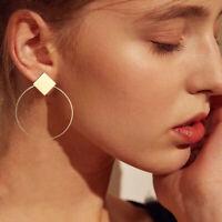 Boho Women Simple Geometric Circle Gold Silver Dangle Earrings Fashion Designs
