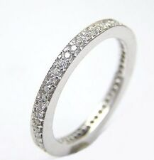 14 KT WHITE GOLD RING ETERNITY THIN BAND WITH 0.30 CT DIAMONDS 2.20 MM WIDE