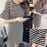 Women Summer Casual Loose Striped Short Sleeve Mini Long T-Shirt Dress Sundress