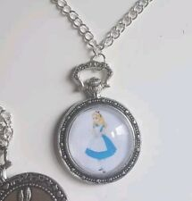 Alice In Wonderland Pocket Watch Style double sided Necklace Princess Cute Gift