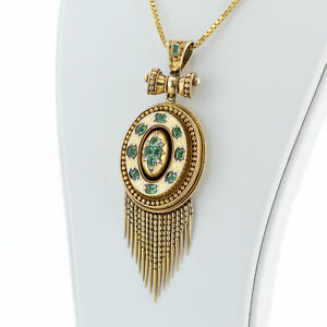 Antique pendant (14k gold) with emeralds