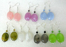Hook Acrylic Mixed Metals Oval Costume Earrings