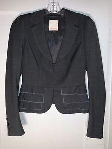 Rebecca Taylor Gray Ruffle Lightweight Gabardine Short Blazer Jacket size 4 A963