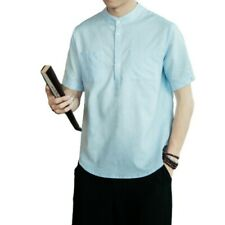 Men's Casual T-Shirt Tops Stand collar Chinese style Cotton Linen Plain Summer L