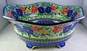 Unikat Polish Art Pottery Lg. Ftd. Serving Bowl 2510 Multicolored Floral - MInty