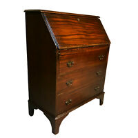 Antique Chippendale Style Flame Mahogany Drop Front Secretary Desk