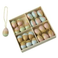 24 Wooden Pastel Hanging Easter Egg Twig Tree Decorations - Easter Decorations