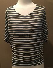 MINE brand Sz S  Olive & Cream Stripes, Open Back, Dolman Sleeves, Very Nice !