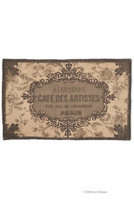 "French ""Cafe Des Artists"" Brown/Beige Cotton 32"" Carpet Bath Kitchen Mat Rug"