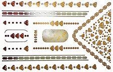 Finger Nail Art Sticker Wasser Tattoo Gold Silber Nagelsticker UV 11 Teile WG16