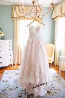 Blush Lace Appliques Spaghetti Strap Wedding Dress Bridal Gown Custom Size 6-20