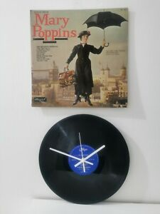 """Hand Made Vinyl Record Wall Clock 12"""" LP Real Record with White hands and secs"""