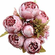 Luyue Vintage Artificial Peony Silk Flowers Bouquet Home Wedding Decoration (Spr