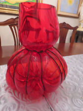 Modern Vanessa Mitrani Caged Thick  Blown Glass Pumpkin Vase Red