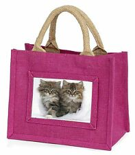 Kittens in White Fur Hat Little Girls Small Pink Shopping Bag Christm, AC-189BMP