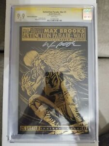 EXTINCTION PARADE #1 LEATHER GOLD FOIL VARIANT CGC 9.9 MINT MAX BROOKS SIGNED
