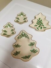 Lot 4 Lenox Demensions Collection Holiday Candy Dish Tree Shaped Holly & Berries