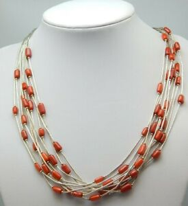 "925 STERLING SILVER 10 STRAND LIQUID SILVER CORAL BEAD NECKLACE 19.75"" + 3"""