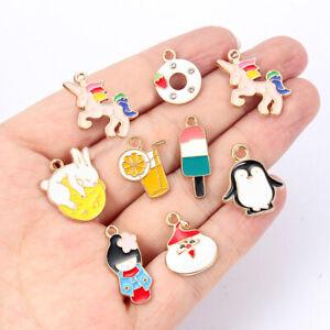 10pcs Cat Dog Rabbit Alloy Charms Cartoon Enamel Cut Animal Series DIY Bracelet