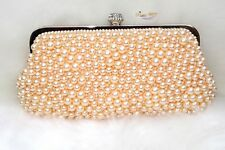 Beautiful Peach Pearl Clutch Party Evening Cocktail Purse for women