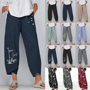UK Summer Womens Ladies Cotton Linen Baggy Casual Harem Pants Trousers Plus Size