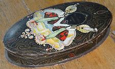 Très belle ancienne boite ovale confiserie décor orientaliste au délice Epernay