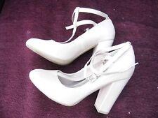 New Look, Block Heel Nude T bar strap patent Heels, Size 40
