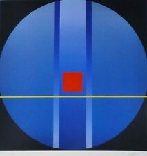 FRIEDRICH GEILER Geometric Composition blue HAND SIGNED LITHOGRAPH German Artist