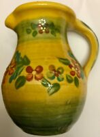 Small Creamer Syrup Pitcher Yellow Floral Stoneware Pottery Unbranded Farmhouse