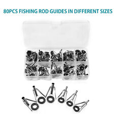 80 Pc Ceramic Fishing Rod Pole Guides Tips Top Eye Rings Repair Kits 10 Sizes