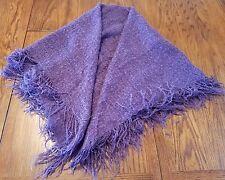 SHAWL Square Wrap Grape-Purple Boucle' Yarn with Fringed Edges