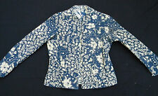 Handmade Reversible Blue and White Floral Quilted Ladies Jacket Blazer XS-S