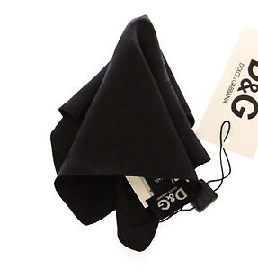 DOLCE & GABBANA D&G Black Silk Handkerchief Pochette Square Pocket