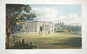 OAKLANDS,OKEHAMPTON,DEVON Ackermann Aquatint Antique Print 1826