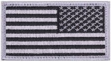 """Hook Back Black/Silver Rev Face Military American Flag Patch 17/8""""x31/4"""" 17784"""