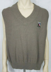 NWT Vintage 1996 Carlyle US Open green Cotton v-neck sweater vest mens Large