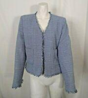 Vintage Harris Wallace NY Womens Frayed Hemline Blue Open Front Jacket Size 6