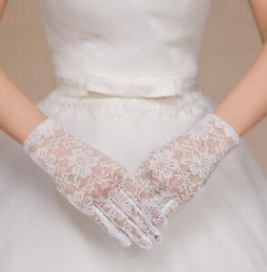 NEU Edle Handschuhe Braut Party Brauthandschuhe Hochzeit Spitzen Mustern Blumen