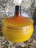 Mid Century Pottery Bowl & Lid VTG Haeger Pumpkin Shape Clay Glazed Dish & Cover