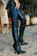 Crotch Overknee Stiefel Boots Schwarz 37-46 NEU 3623L High Heels Overkneestiefel