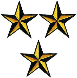 """Nautical Star Applique Patch - Yellow Black Tattoo Badge 2"""" (3-Pack, Iron on)"""