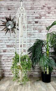Vintage Mid Century Large Macrame Plant Hanger Boho Tiki Chandelier Pot Holder