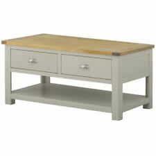 Padstow Painted Grey Large Coffee Table / Solid Wood Stone Painted Table / New