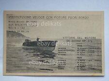 Imbarcazione motoscafo DE GIORGI Cantieri Baglietto Varazze cartolina 1925 riva