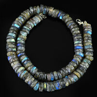 425.00 CTS NATURAL BLUE FLASH LABRADORITE UNHEATED ROUND SHAPE BEADS NECKLACE
