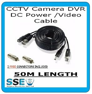 CCTV CABLE 50M-PWR/VID EXT CABLE-PROFESSIONAL GRADE - 2 FREE RCA MALE CONNECTORS